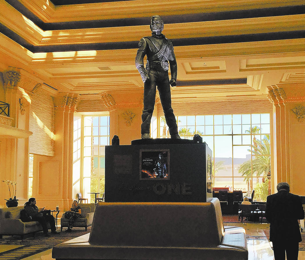 "A 10-foot Michael Jackson statue from his ""HIStory Tour"" in the lobby of Mandalay Bay. (Las Vegas Review-Journal)"