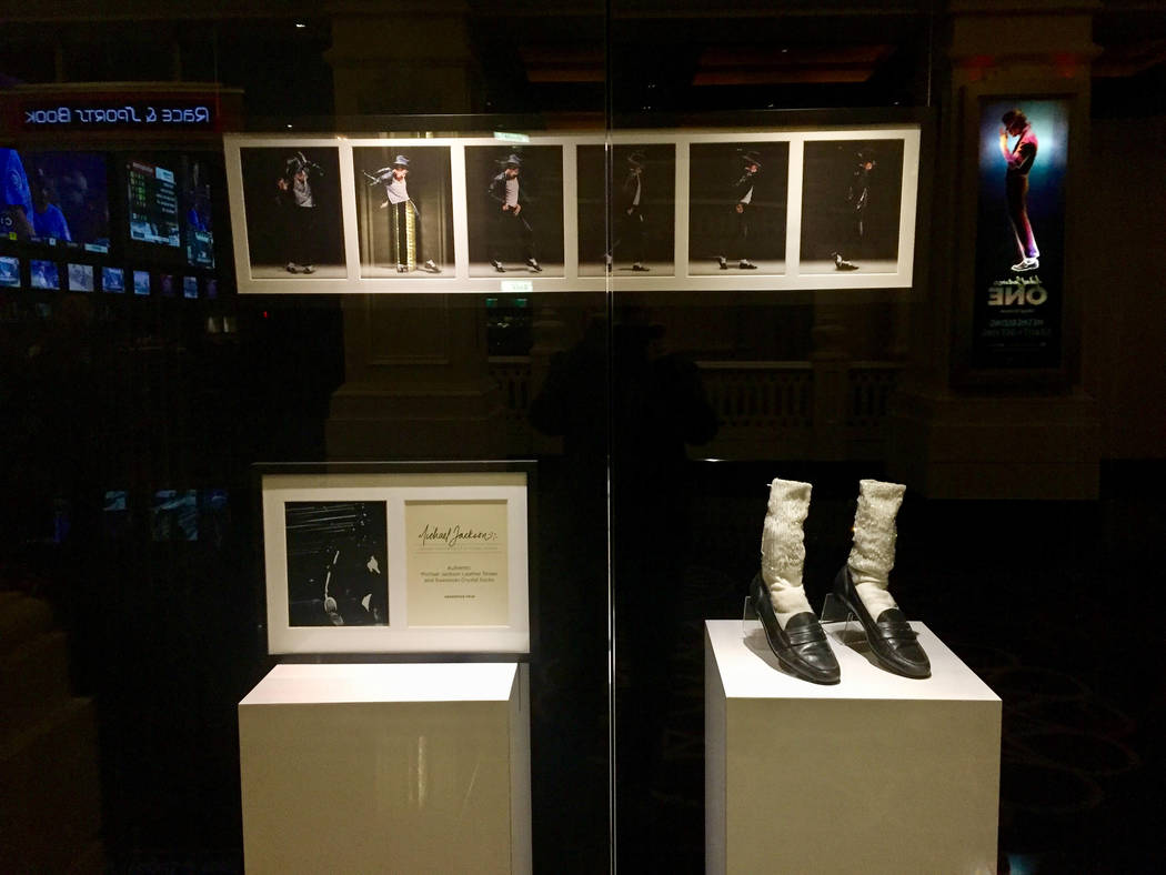 "Michael Jackson memorabilia on display outside the ""Michael Jackson One"" showroom at Mandalay Bay. (Las Vegas Review-Journal)"