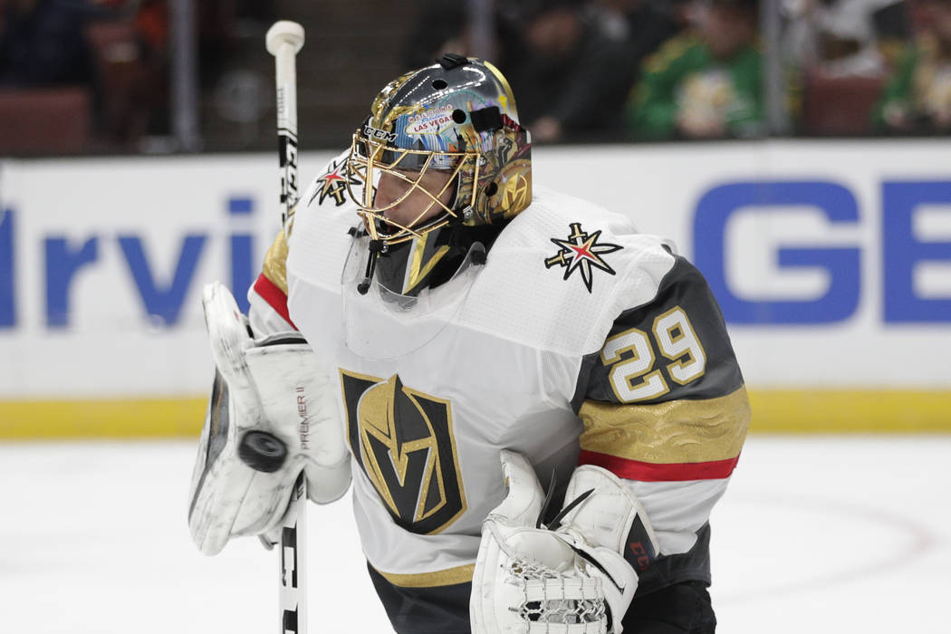 Vegas Golden Knights goaltender Marc-Andre Fleury makes a save during the second period of the team's NHL hockey game against the Anaheim Ducks on Friday, March 1, 2019, in Anaheim, Calif. (AP Pho ...