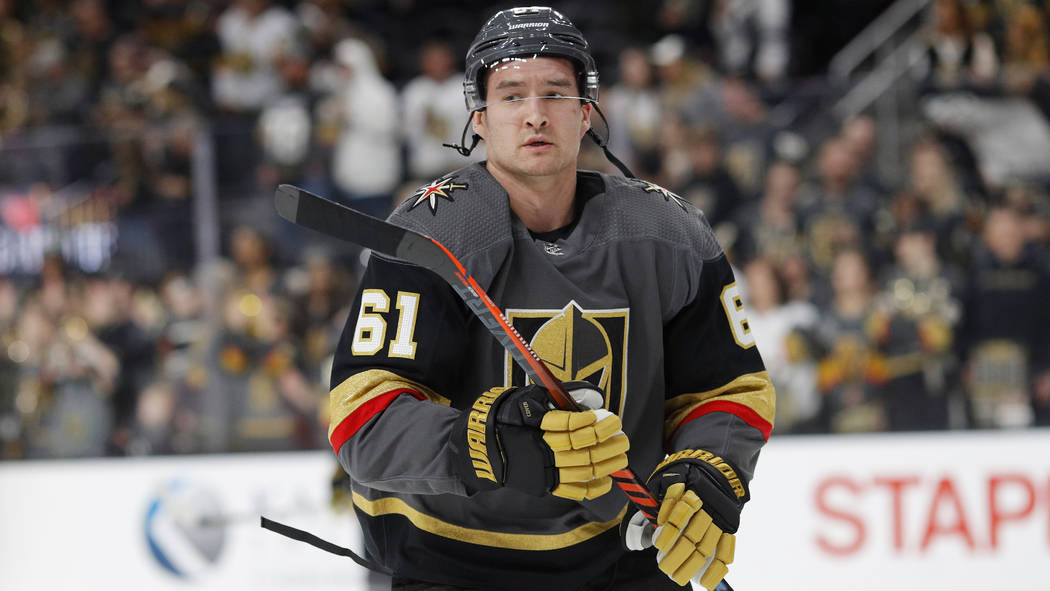 Vegas Golden Knights right wing Mark Stone (61) warms up before an NHL hockey game against the Florida Panthers, Thursday, Feb. 28, 2019, in Las Vegas. (AP Photo/John Locher)