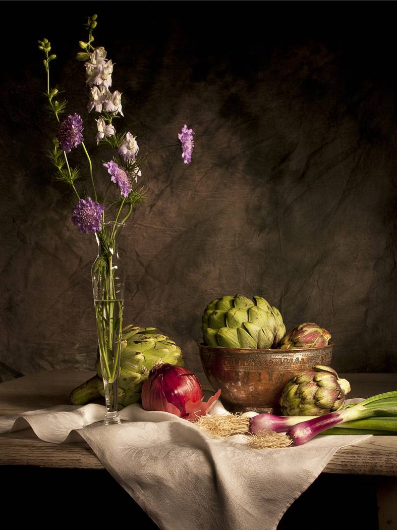 """""""Artichokes and Onions"""" by Kristin Ferguson Kristin Ferguson is one of three artists featured in the """"Celebrating Life Masters Exhibition"""" at Charleston Heights Arts Center."""