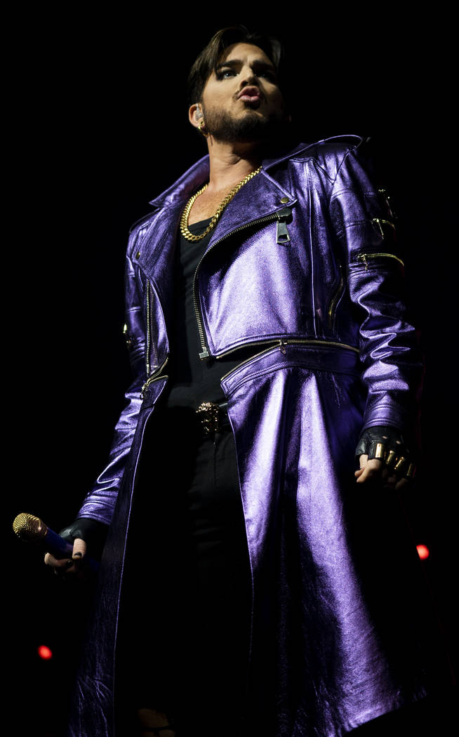 Adam Lambert performs with Queen at Park MGM theater in Las Vegas, Saturday, Sept. 1, 2018. Queen + Adam Lambert will perform 10 shows at Park Theater through September 22. (Marcus Villagran/Las V ...