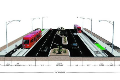 The proposed light-rail line would share curbside lanes with vehicles traveling on Maryland Parkway. The trains might not require the use of overhead electrical lines to operate. Instead, the line ...