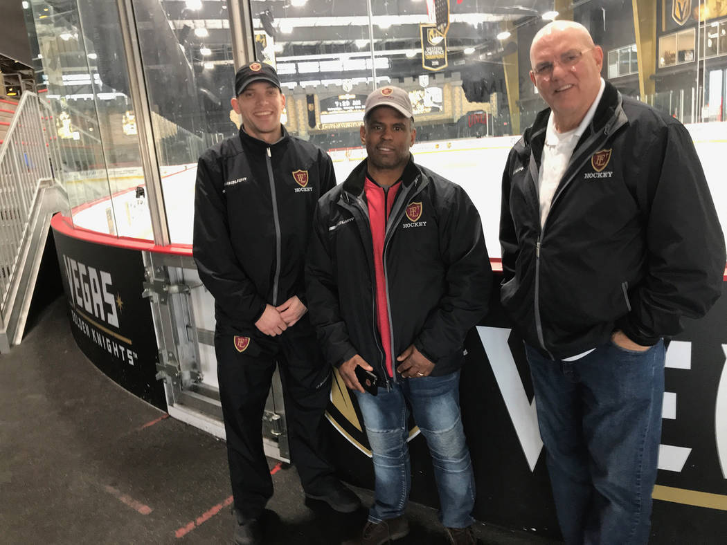 Faith Lutheran's hockey high command consists of Assistant Coach Joel Blasko, left, Coach Pokey Reddick and General Manager Craig Thornton. (Courtesy)