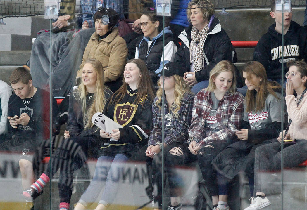 Faith Lutheran's fans watch a hockey game against Utah at the City National Arena in Las Vegas, Saturday, Dec. 15, 2018. Chitose Suzuki Las Vegas Review-Journal @chitosephoto