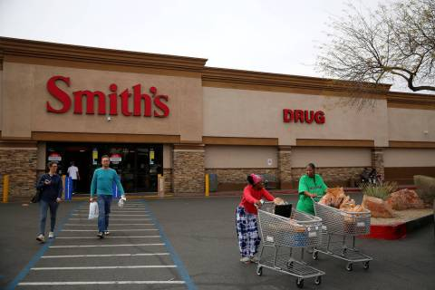 The Smith's grocery store at 850 S Rancho Dr, in Las Vegas, Friday, March 1, 2019. Smith's grocery stores will stop accepting Visa credit cards in Nevada. (Erik Verduzco/Las Vegas Review-Jo ...