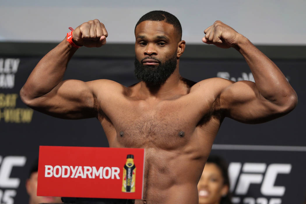 Tyron Woodley poses during the ceremonial UFC 235 weigh-in event at T-Mobile Arena in Las Vegas, Friday, March 1, 2019. (Erik Verduzco/Las Vegas Review-Journal) @Erik_Verduzco