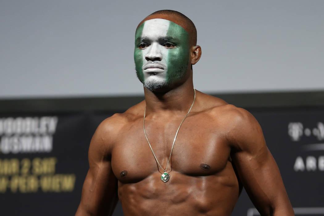 Kamaru Usman poses during the ceremonial UFC 235 weigh-in event at T-Mobile Arena in Las Vegas, Friday, March 1, 2019. (Erik Verduzco/Las Vegas Review-Journal) @Erik_Verduzco