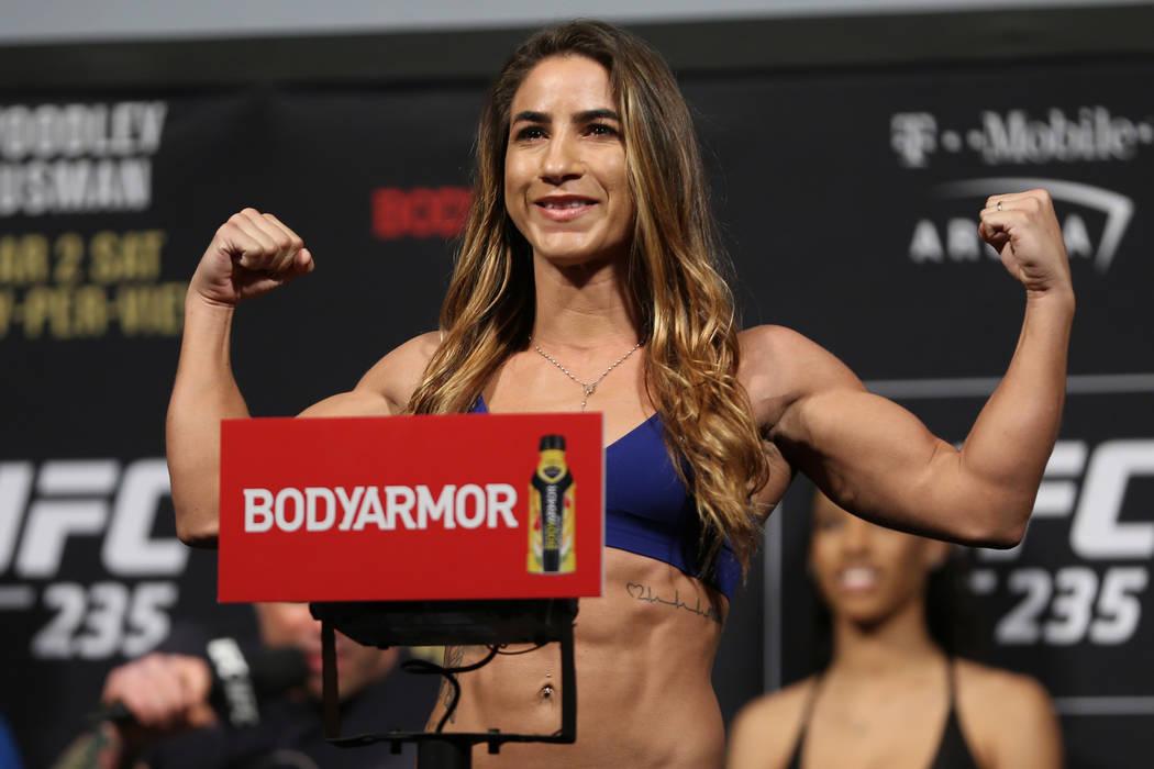 Tecia Torres poses during the ceremonial UFC 235 weigh-in event at T-Mobile Arena in Las Vegas, Friday, March 1, 2019. (Erik Verduzco/Las Vegas Review-Journal) @Erik_Verduzco