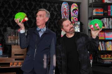 """Bill Nye, """"The Science Guy,"""" is shown with Electric Daisy Carnival and Insomniac Events founder Pasquale Rotella are teaming on a """"Kinetic Energy"""" theme for this year's EDC May 17-19 at Las Vegas ..."""