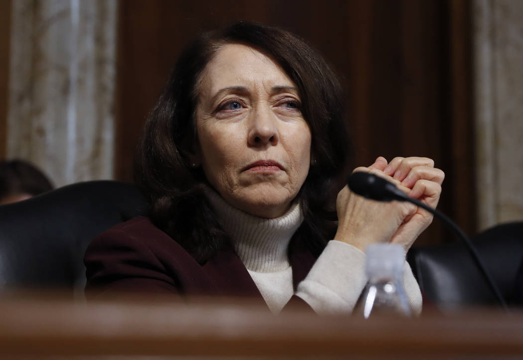 The Senate Energy and Natural Resources Committee's ranking member Sen. Maria Cantwell, D-Wash. listens as Energy Secretary-designate, former Texas Gov. Rick Perry, testifies on Capitol Hill in Wa ...