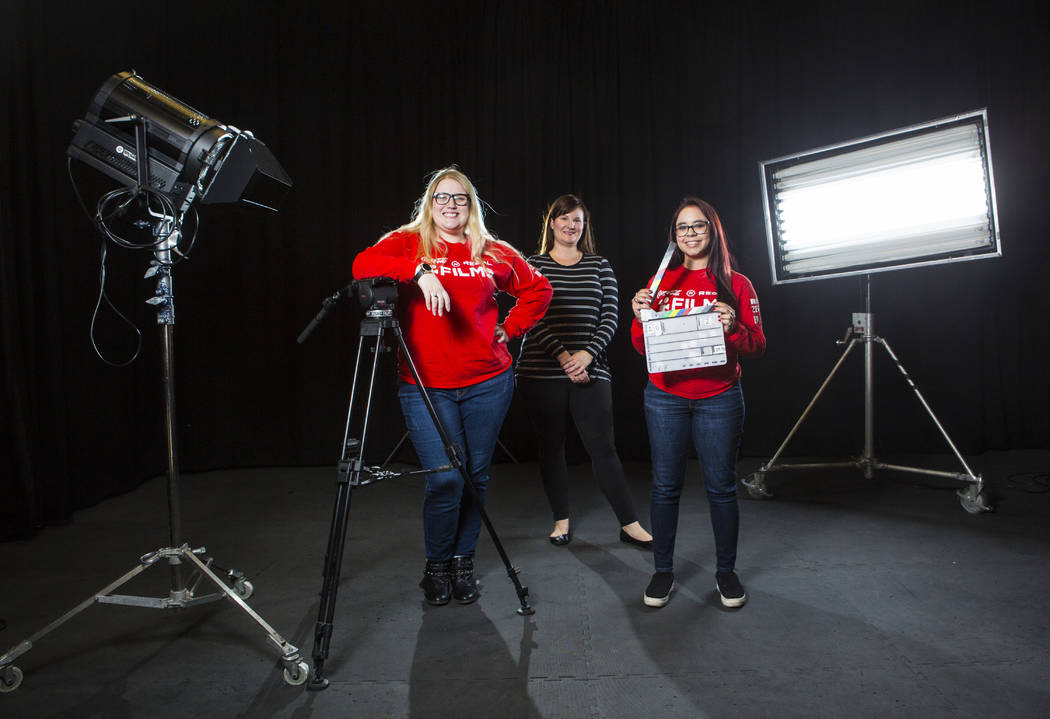 UNLV film students Nicolle Peterson, left, and Lily Campisi, right, with professor and advisor Brett Levner at Light Forge Studios in Las Vegas on Wednesday, Feb. 27, 2019. The two students are to ...