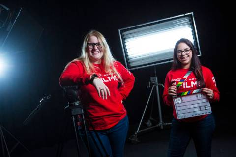 UNLV film students Nicolle Peterson, left, and Lily Campisi at Light Forge Studios in Las Vegas on Wednesday, Feb. 27, 2019. The two students are top-five finalists in the Coca-Cola Regal Films Co ...