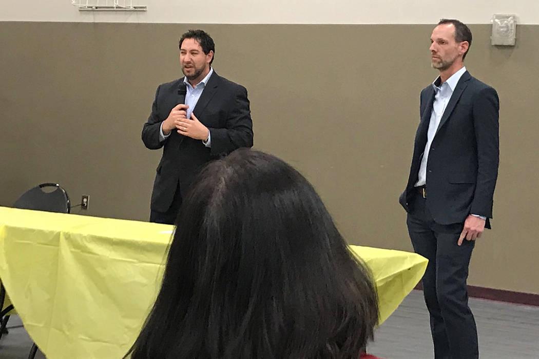 Clark County Commissioners Michael Naft and Justin Jones answer questions at Desert Breeze Community Center on Tuesday, Feb. 26. (Rachel Spacek/Las Vegas Review-Journal @RachelSpacek)