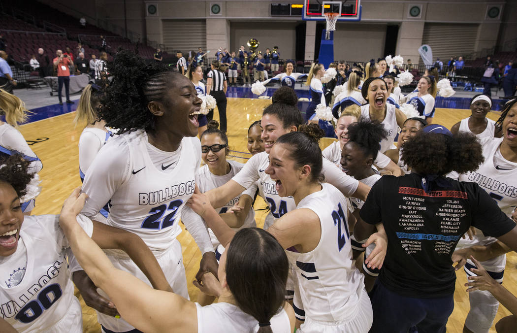 Centennial celebrates after beating Bishop Gorman 78-47 to win the Class 4A girls state championship on Friday, March 1, 2019, at Orleans Arena, in Las Vegas. (Benjamin Hager Review-Journal) @Benj ...