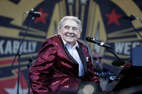 Rock and roll legend, Jerry Lee Lewis smiles to the crowd after taking the stage at the 21st Annual Viva Las Vegas Rockabilly Weekend car show at the Orleans hotel and casino on Saturday, April 21 ...