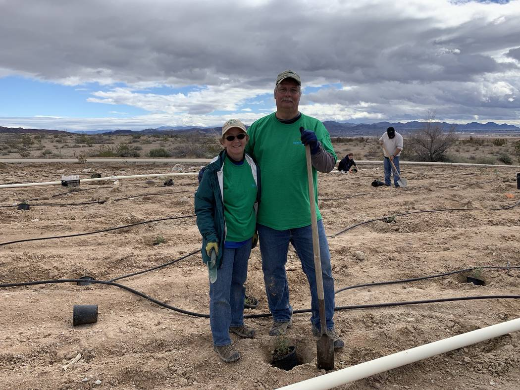 Las Vegas residents Doug Merkler, and his wife, Lois Merkler, volunteer at the Green-Up event held Saturday, March 2, 2019, at the Las Vegas Wash. Jessica Terrone Las Vegas Review-Journal
