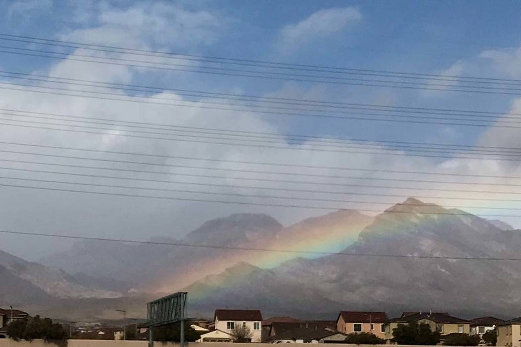 An early Saturday morning rain left a rainbow near the 215 Beltway in Summerlin. (Courtesy of Keith Rodgers)
