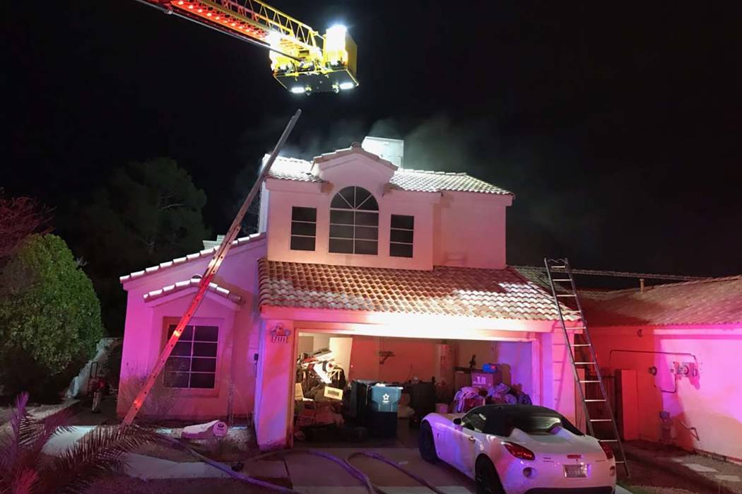 The Clark County Fire Department responded to a house fire that resulted in $50,000 in damage in the south valley Friday night. (Clark County Fire Department)