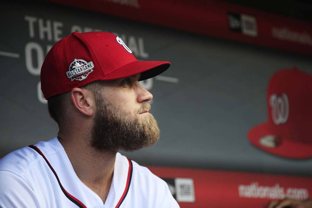 Philadelphia has scheduled a Saturday, March 02, 2019, news conference to introduce the newest member of the team, Bryce Harper. (AP Photo/Manuel Balce Ceneta, File)