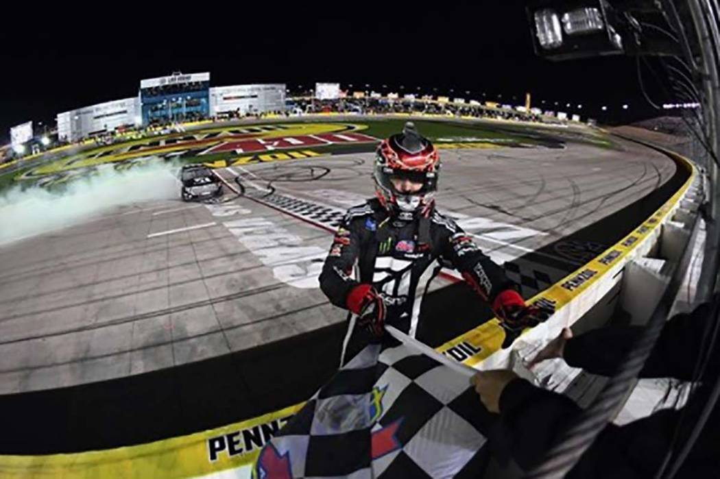 Kyle Busch is back in Victory Lane in at Las Vegas Motor Speedway after winning the NASCAR Gander Outdoors Truck Series Strat 200 on Friday, March 1, 2019. (LVMS Facebook)
