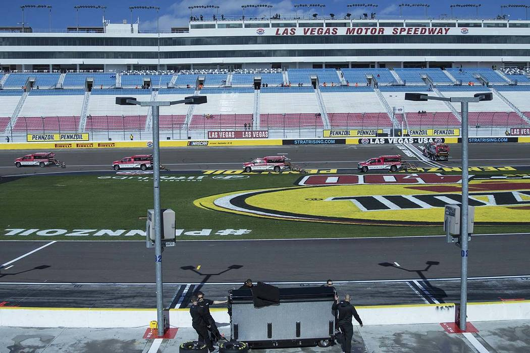 The track at Las Vegas Motor Speedway is dried after early morning showers delayed racing actiopn on Saturday, March 2, 2019, in Las Vegas. (Benjamin Hager Review-Journal) @BenjaminHphoto