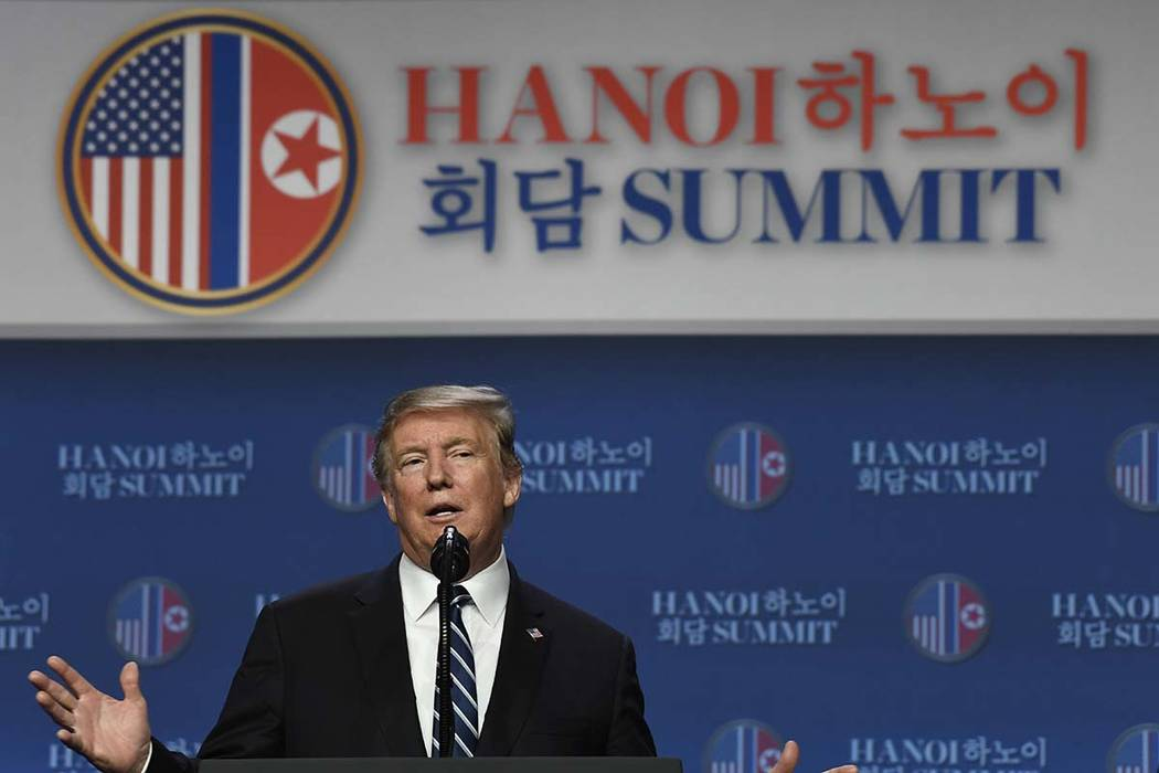In this Feb. 29, 2019, photo, President Donald Trump speaks during a news conference in Hanoi, following his summit with North Korean leader Kim Jong Un. (AP Photo/Susan Walsh)