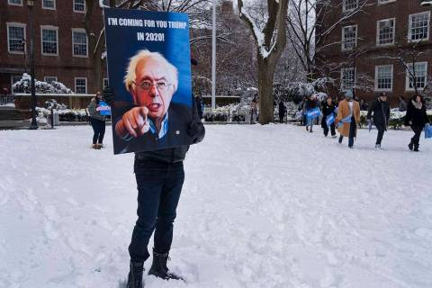 People arrive for a rally for Sen. Bernie Sanders, I-Vt., before Sanders kicks off his political campaign Saturday, March 2, 2019, in the Brooklyn borough of New York. Sanders will launch a 2020 ...