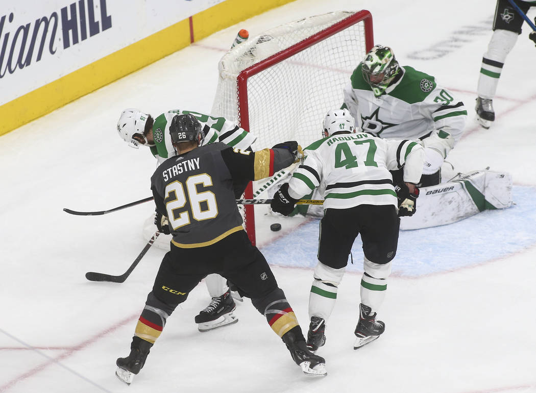 Golden Knights left wing Max Pacioretty, not pictured, scores a goal against the Dallas Stars during the third period of an NHL hockey game at T-Mobile Arena in Las Vegas on Tuesday, Feb. 26, 2019 ...
