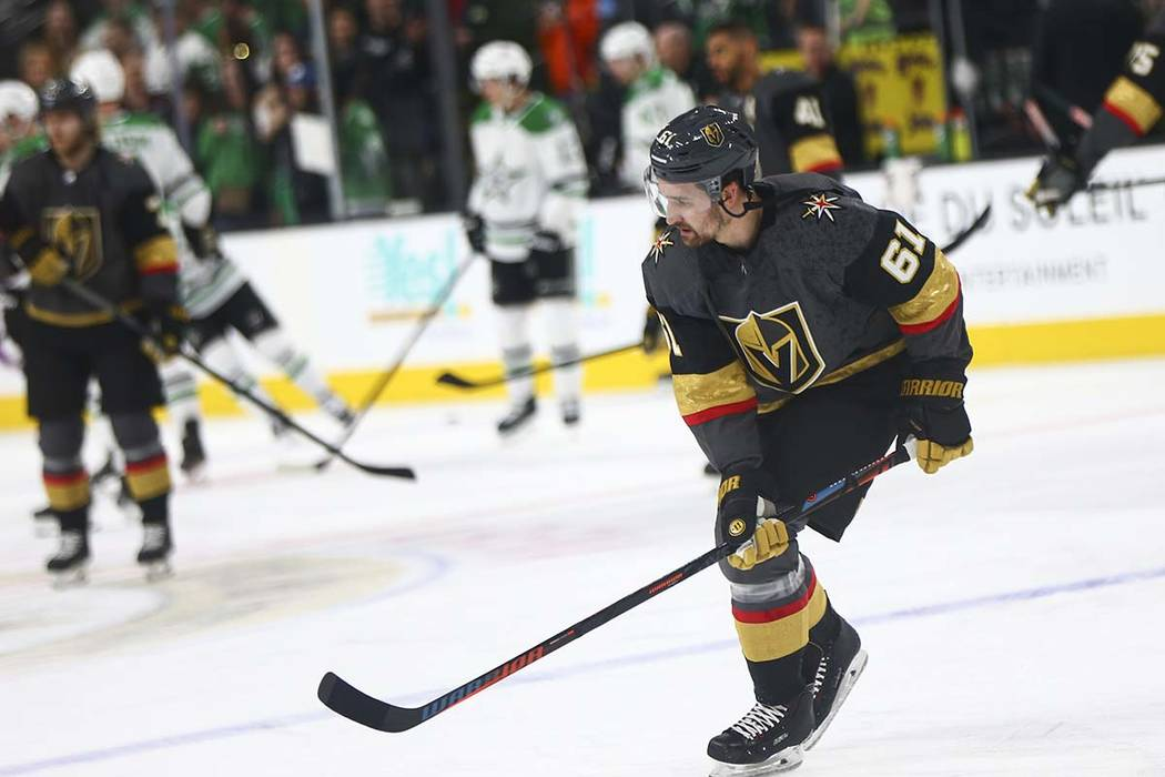 Golden Knights right wing Mark Stone (61) warms up before playing the Dallas Stars at T-Mobile Arena in Las Vegas on Tuesday, Feb. 26, 2019. (Chase Stevens/Las Vegas Review-Journal) @csstevensphoto