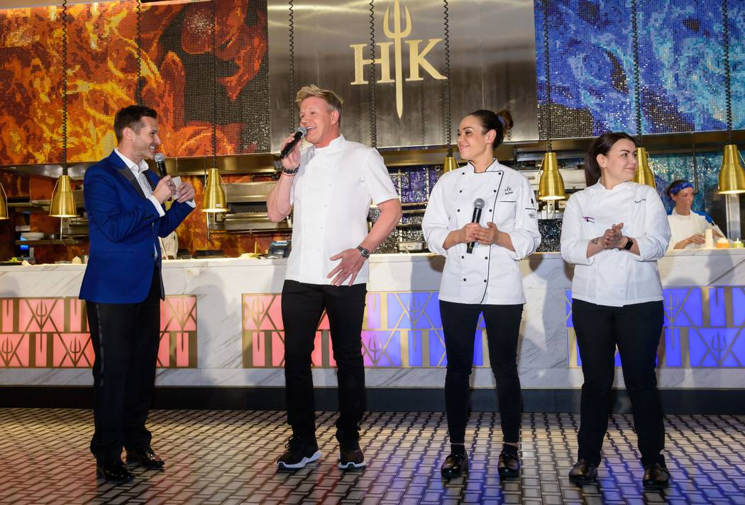 Fox 5's Sean McAlister hosts the introductions Gordon Ramsay, Ariel Fox and Michelle Tribble Star chef at Hell's Kitchen's one-year anniversary party at Caesars Palace on Friday, March 1, 2019. (C ...