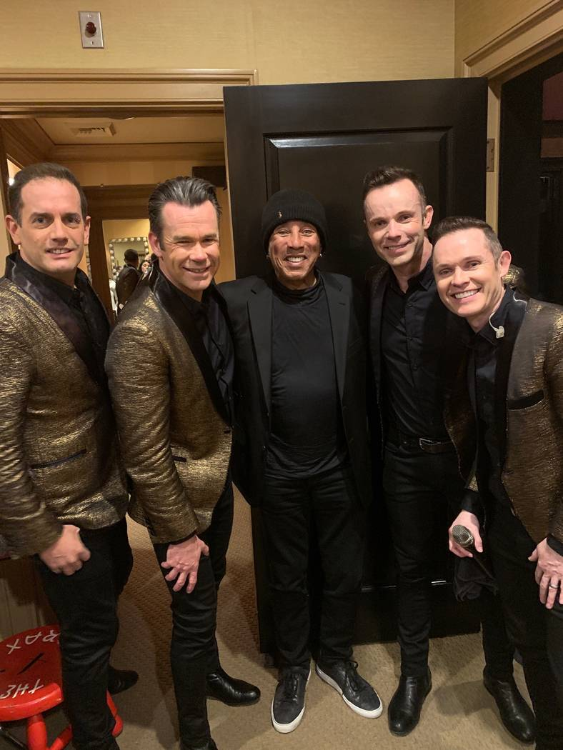 Smokey Robinson is shown with the members of Human Nature, from left, Toby Allen, Phil Burton, Andrew Tierney and Mike Tierney at Sands Showroom at the Venetian on Thursday, Feb. 28, 2019. (SPI En ...