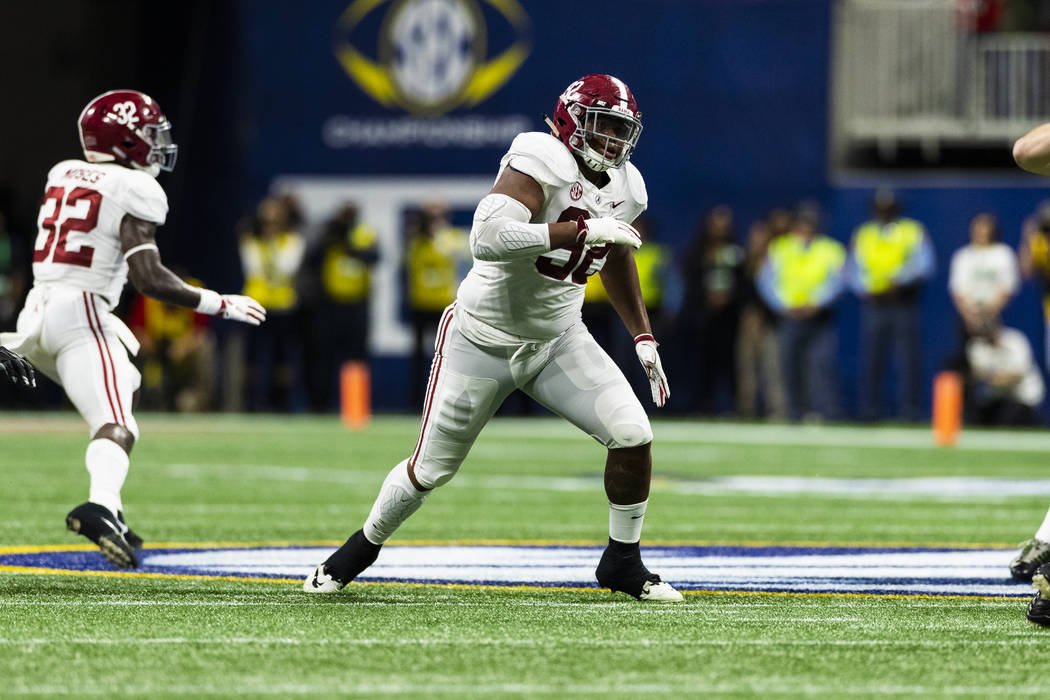 Alabama Crimson Tide defensive lineman Quinnen Williams (92) during the Southeastern Conference Championship NCAA college football game against the Georgia Bulldogs on Saturday, Dec. 1, 2018 in At ...