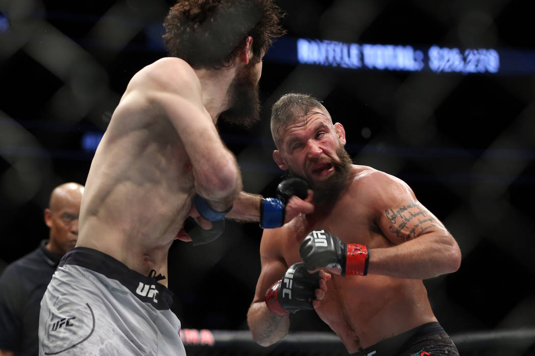 Zabit Magomedsharipov, left, connects a punch against Jeremy Stephens in the featherweight bout during UFC 235 at T-Mobile Arena in Las Vegas, Saturday, March 2, 2019. Magomedsharipov won by unani ...