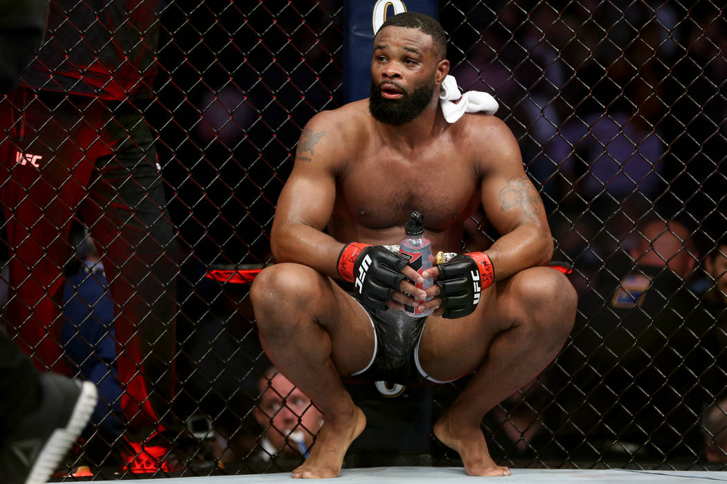 Tyron Woodley reacts after his fight against Kamaru Usman in the welterweight title bout during UFC 235 at T-Mobile Arena in Las Vegas, Saturday, March 2, 2019. Usman won by unanimous decision. (E ...