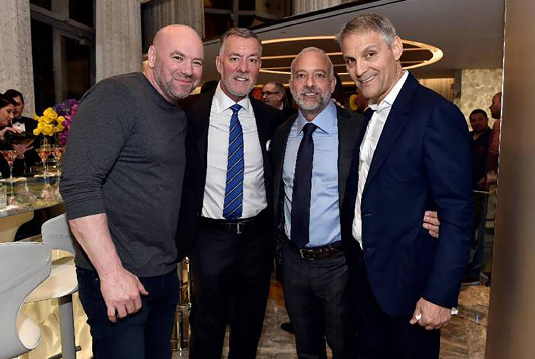 Dana White, Frank Fertitta III, Lorenzo Fertitta and Ari Emanual are shown at Empathy Suite's opening party at the Palms on Friday, March 1, 2019. (Palms)