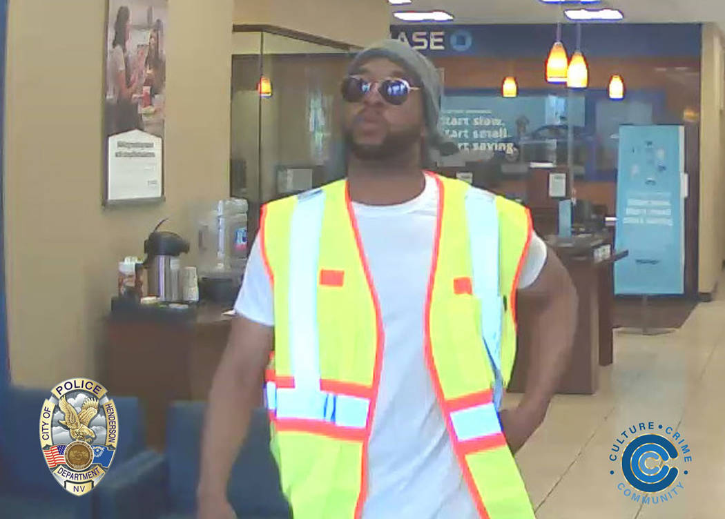 Henderson police are asking for help finding a man suspected of robbing a Chase Bank on Saturday morning. (Henderson Police Department)