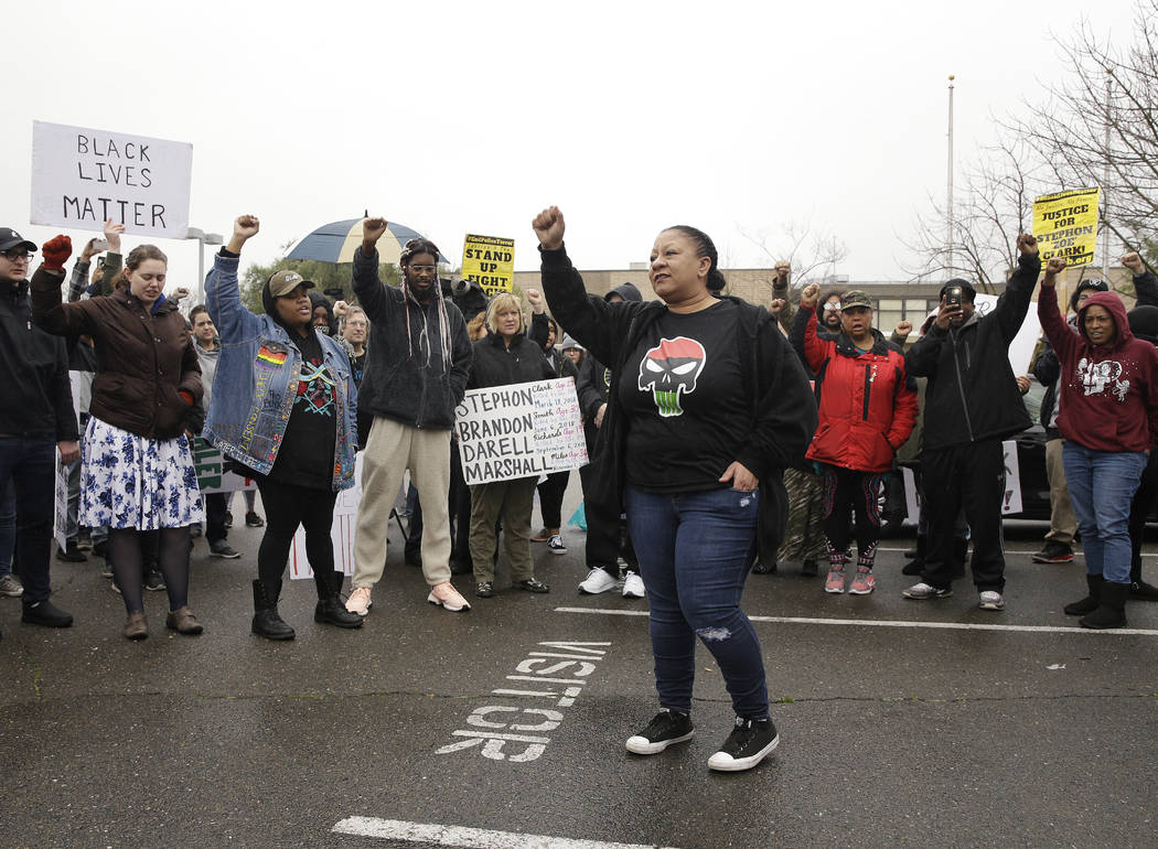 Tanya Faison, of Black Lives Matter, addresses a demonstration outside the Sacramento Police Department to protest the decision to not prosecute the two officers involved in the 2018 fatal shootin ...
