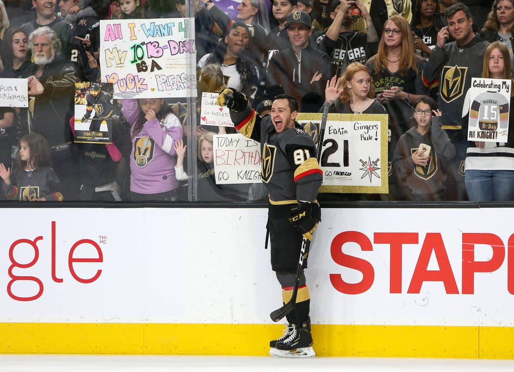 Vegas Golden Knights center Jonathan Marchessault (81) cheers during warmups of an NHL hockey game at T-Mobile Arenain Las Vegas, Sunday, March 3, 2019. (Caroline Brehman/Las Vegas Review-Journal) ...