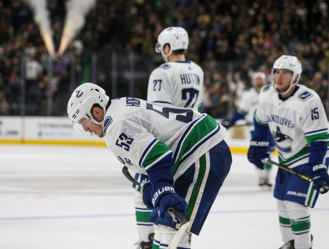 Vancouver Canucks center Bo Horvat (53) skates towards the bench after the Vancouver Canucks lose against the Vegas Golden Knights during an NHL hockey game at T-Mobile Arena in Las Vegas, Sunday, ...
