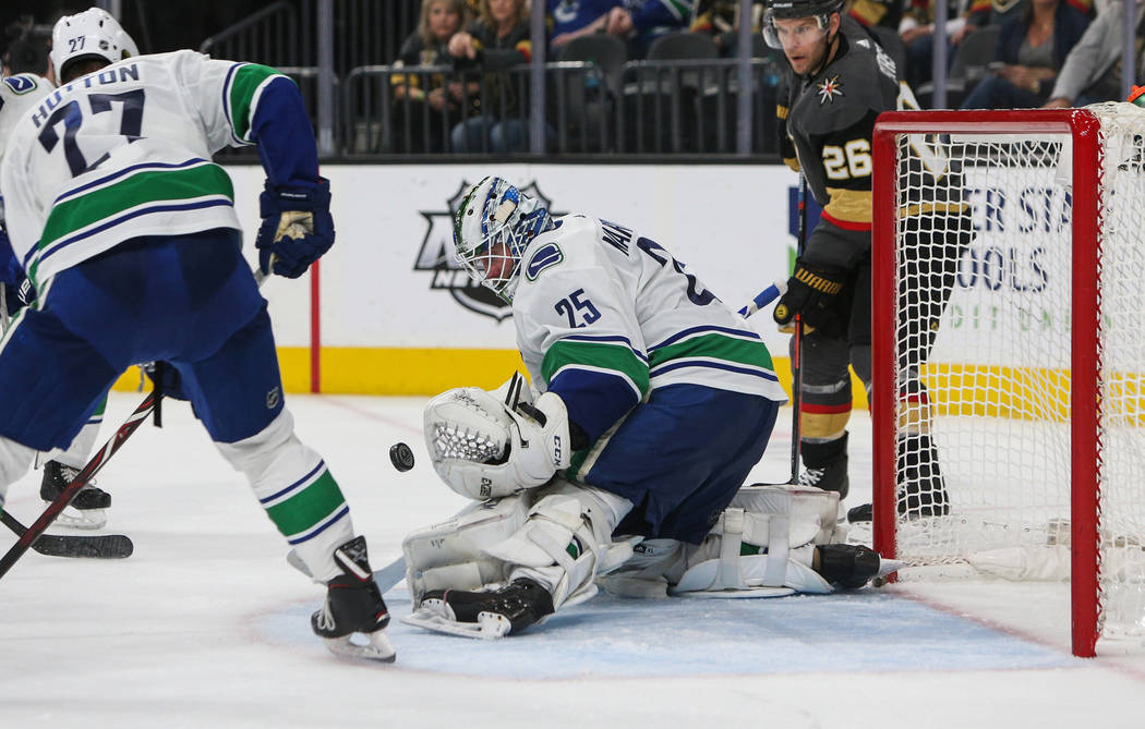 Vancouver Canucks goaltender Jacob Markstrom (25) blocks a shot from the Vegas Golden Knights during the third period of an NHL hockey game at T-Mobile Arena in Las Vegas, Sunday, March 3, 2019. ( ...