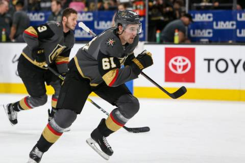 Vegas Golden Knights right wing Mark Stone (61) skates towards the net during warmups of an NHL hockey game at T-Mobile Arenain Las Vegas, Sunday, March 3, 2019. (Caroline Brehman/Las Vegas Review ...