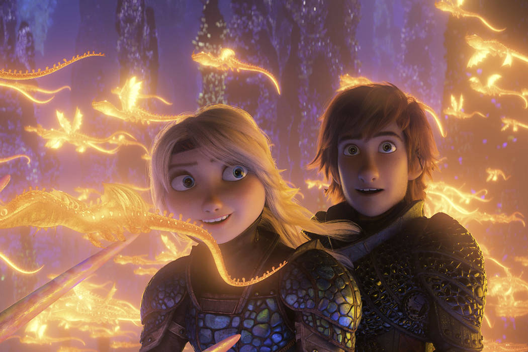 "This image released by Universal Pictures shows characters Astrid, voiced by America Ferrera, left, and Hiccup, voiced by Jay Baruchel, in a scene from DreamWorks Animation's ""How to Train Yo ..."