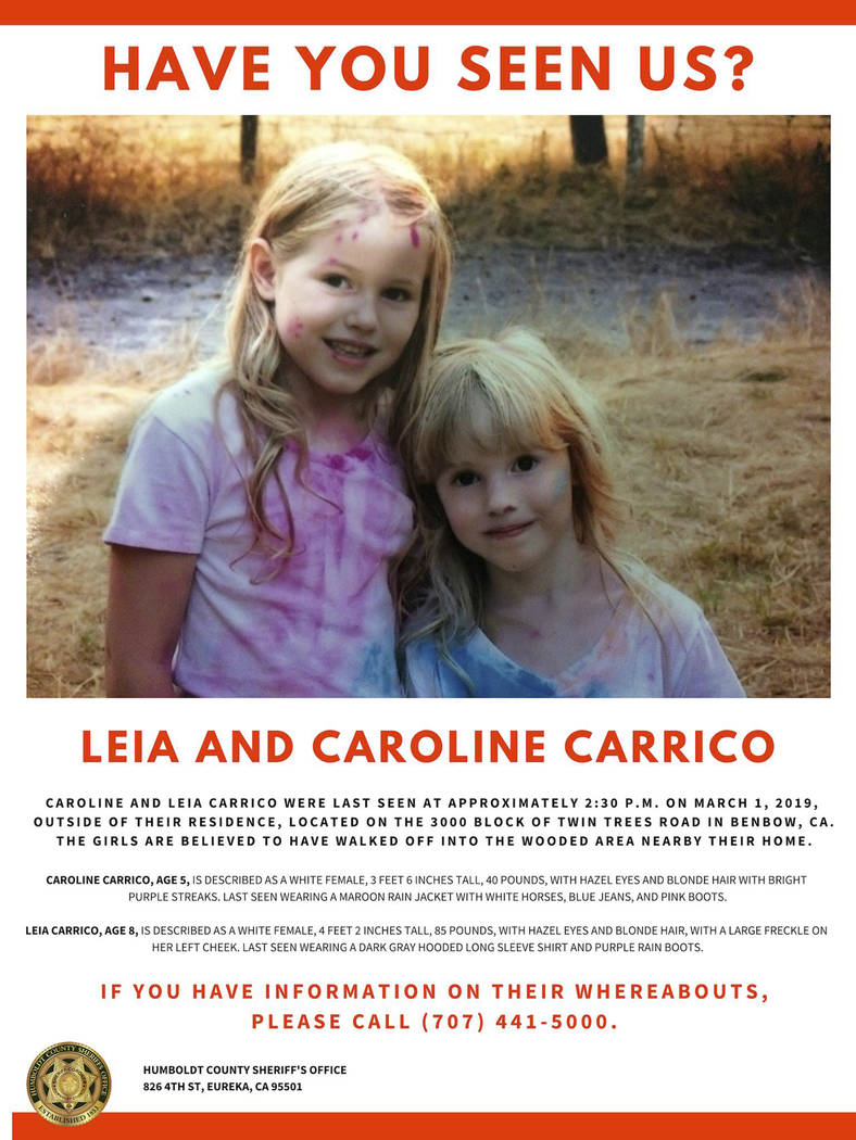 This undated online missing persons poster provided by the Humboldt County Sheriff's Office shows Leia Carrico, 8, left, and her sister Caroline Carrico, 5, as they seek the public's help in locat ...