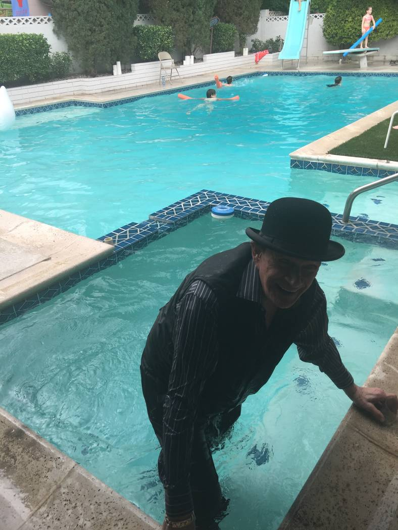 """Johnny Thompson, aka """"The Great Tomsoni,"""" shown after falling into the hot tub at Mac King's Kentucky Derby party in May (Emily Jillette photo)."""
