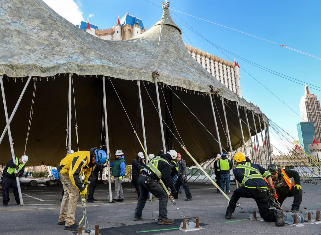 Fuerza Bruta hosts a tent raising event at the Excalibur Hotel & Casino in Las Vegas, Wednesday, Feb. 6, 2019. Caroline Brehman/Las Vegas Review-Journal