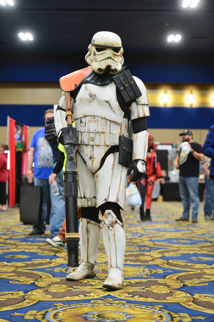 TD-22766, a member of the popular Star Wars Community the 501st Legion, cosplays as a desert storm trooper from Star Wars Episode 4 at the Las Vegas Toy and Comic Convention at the Westgate Resort ...