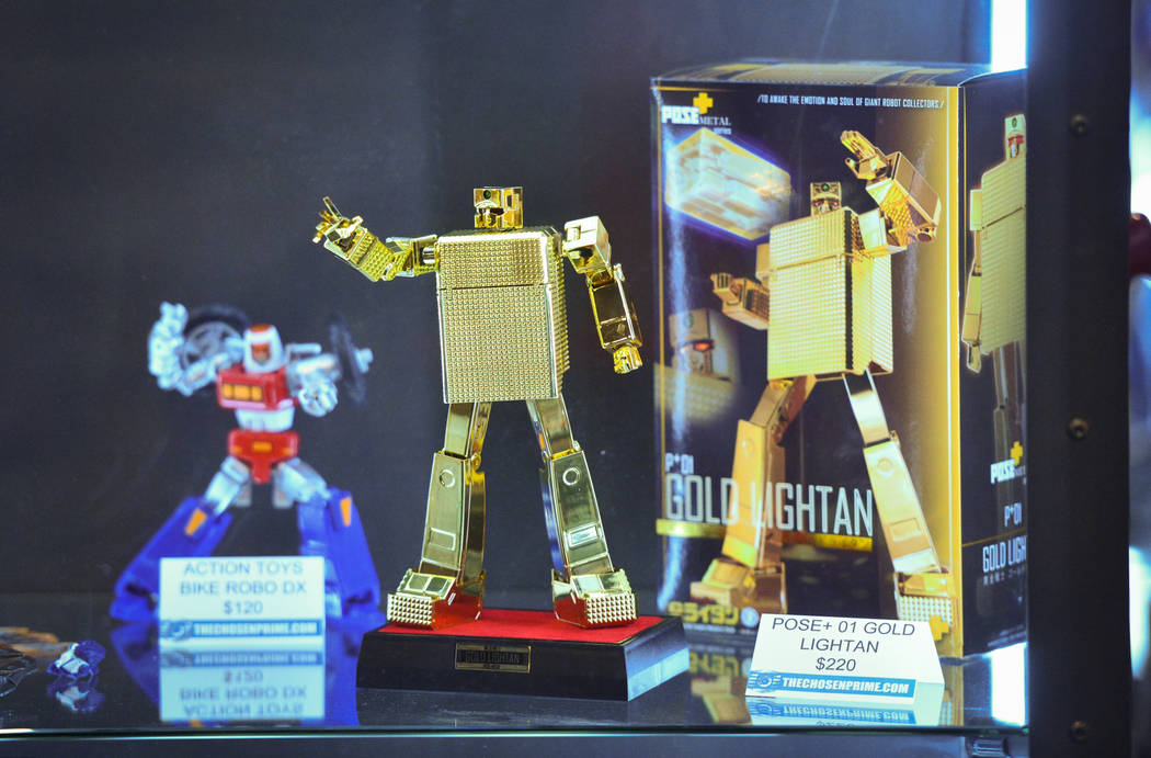 A figurine from the anime Golden Warrior Gold Lightan sits on display at The Chosen Prime Booth at the Las Vegas Toy and Comic Convention at the Westgate Resort and Casino in Las Vegas, on Sunday, ...