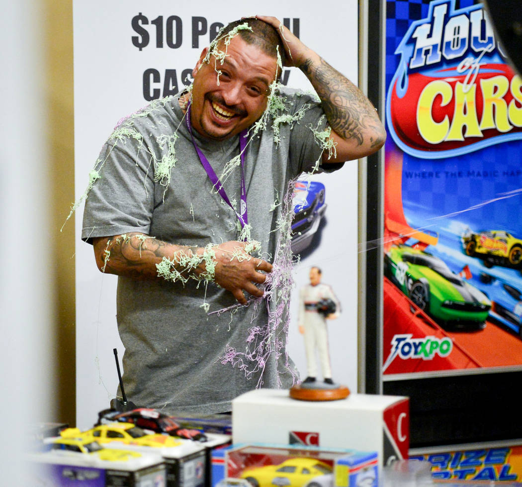 Staff member Joseph Vigil smiles after getting into a Silly String fight at the Las Vegas Toy and Comic Convention at the Westgate Resort and Casino in Las Vegas, on Sunday, March 3, 2019. Brett L ...