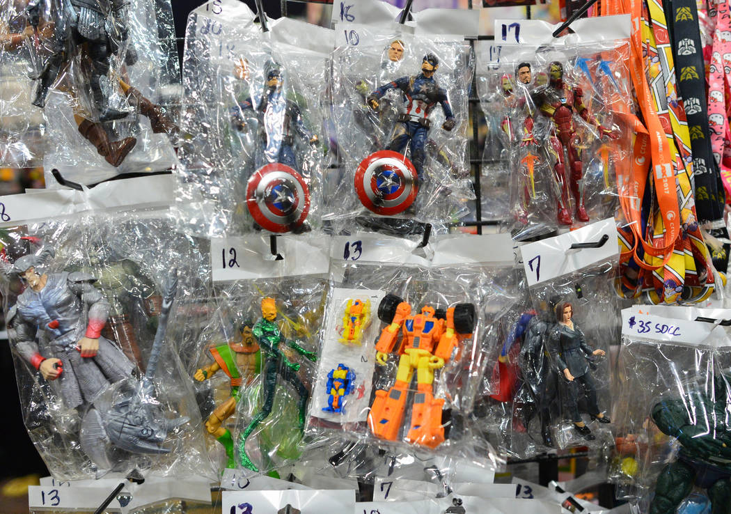Action figures hang for sale at Las Vegas Toy and Comic Convention at the Westgate Resort and Casino in Las Vegas, on Sunday, March 3, 2019. While ToyCon had several booths devoted to classic and ...